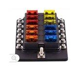 Steekzekeringhouder 12xschroef,LED en kap_